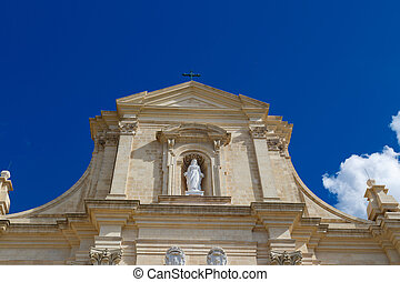 Gozo Cathedral View - Bottom view of historical Cathedral of...