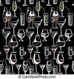 Hand drawn pattern of alcohol drinks and cocktails Vector...