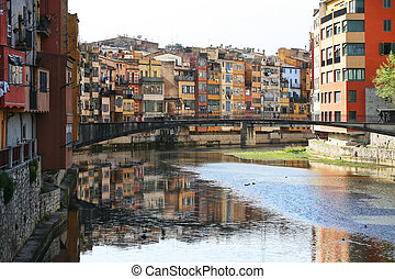 Gerona - Typical view of girona in catalonia the river onyar...