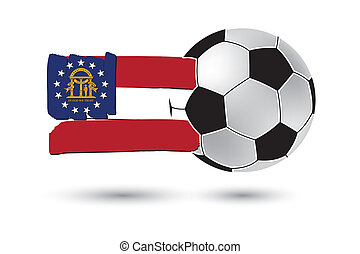 Soccer ball and Georgia State Flag with colored hand drawn...