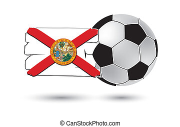 Soccer ball and Florida State Flag with colored hand drawn...