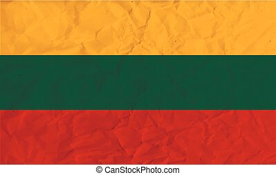 Lithuania paper flag - Vector image of the Lithuania paper...