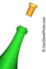 Bottle and cork - Illustration of the bottle and taken-off...