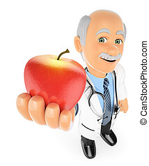 3D Doctor with a red apple. Healthy food concept