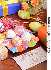 holiday gift box with painted easter eggs