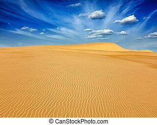 Desert sand dunes on sunrise - White sand dunes in desert on...