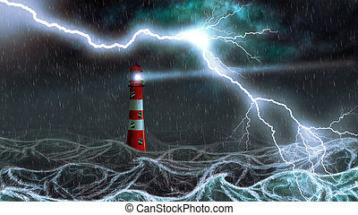 Stormy Sea and Lighthouse - Lighthouse illuminated at night...