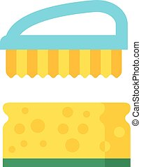 Vector cleaning brush icon flat modern design house work...