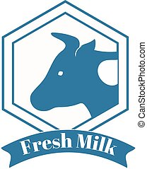 Milk cow logo badge template, some nature drinks label with...