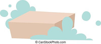 Piece of brown laundry soap with foam flat vector...