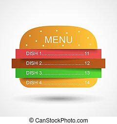Restaurant menu in layers burger Burger illustration Fast...