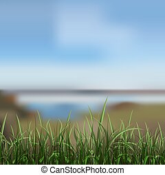 lake shore - background of unfocused lake shore. vector...