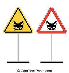 Warning sign attention cat Hazard yellow signpet head of Cat...