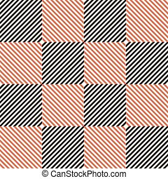 Abstract seamless checkered pattern in black, white and red...