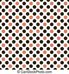 Seamless pattern of black and red circles on white...