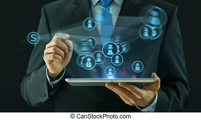 Business man pointing on social network media concept tablet pad