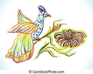 Ukrainian folk art. - Ukrainian folk art with bird....