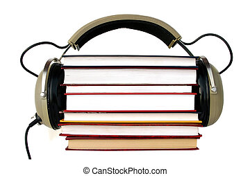 Old style headphones listen audiobooks