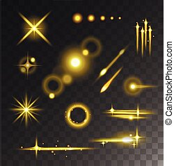 Glowing lights stars glare and glow isolated vector on black...