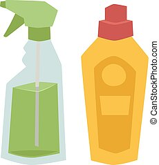 Two plastic spray cleanser bottle with cleaning liquid flat...