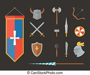 Knight armour with helmet, chest plate, shield and sword...