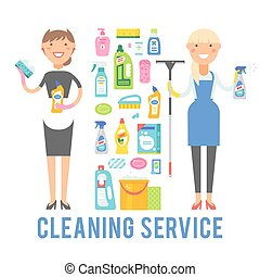 Young smiling cleaner woman service vector isolated over...