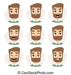 Faces vector characters mosaic of young beard man expressing different emotions icons.
