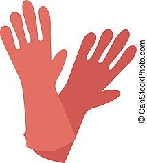 Rubber red gloves cartoon flat icon vector illustration -...