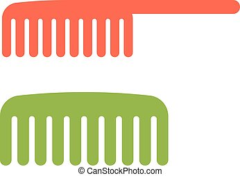 Two red and green comb icon barbershop flat vector...