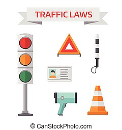 Traffic road police symbols set flat elements isolated vector illustration.