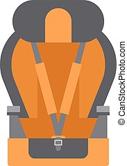 Baby car seats cartoon flat colored vector illustration -...