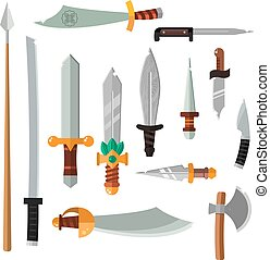 Weapon collection swords, knifes, axe, spear with gold handles cartoon vector illustration.
