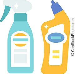 Plastic bottles of cleaning products household chemistry...