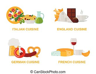 Cuisine lunch gourmet traditional food flat vector...