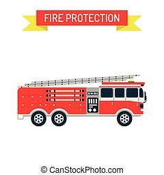 Detailed illustration of fire truck emergency car cartoon...