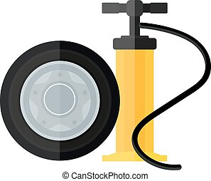 Device hand bicycle and car pump flat cartoon vector style icon.
