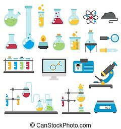 Graphic set chemical laboratory science flat vector -...