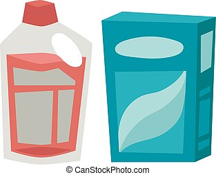 Plastic detergent container and paper box flat vector...