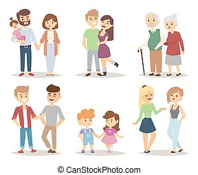 People couple relaxed cartoon vector illustration set. -...