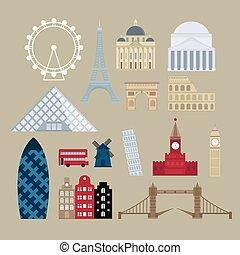 Flat cartoon style historic sight european attractions vector illustration.
