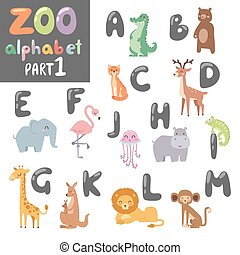 Cute vector zoo english alphabet with cartoon animals colorful illustration.