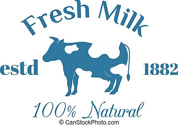 Milk cow logo badge vector template, some nature drinks...