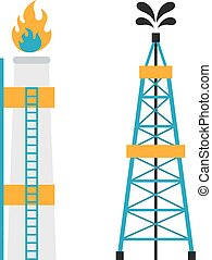 Gas rig station and oil recovery platform flat icon vector...