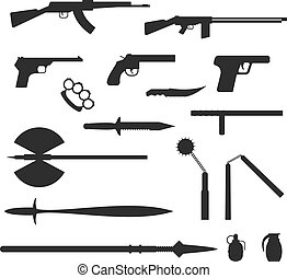 Weapons flat vector collection isolated on white background