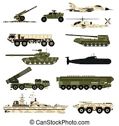 Military technic icon set and armor tanks flat vector...