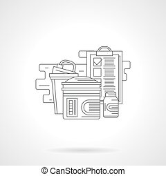 Sports nutrition regime detailed line vector icon - Gym...