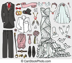 Wedding fashion.Doodle bride,groom dress,clothing set -...