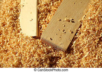 Timber and wood chips background