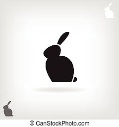 Black stylized silhouette of a rabbit.