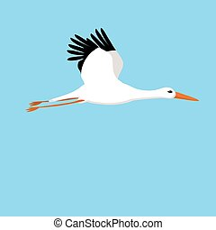flying stork on a blue background
